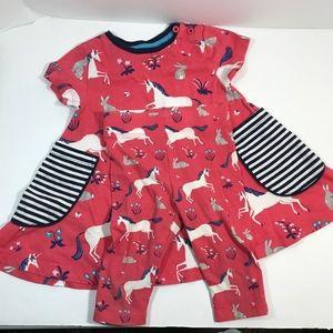 Mini Boden Unicorn Bunny Bunnies Pink Navy Dress